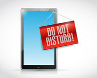 Tablet with a do not disturb hanging sign Royalty Free Stock Image