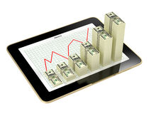 Tablet - dollar bar graphs showing profit grow.  Stock Image