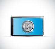 Tablet download now button illustration design Stock Image