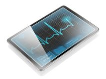 Tablet with ECG. Medical tablet showing cardiogram on display, isolated on white background with reflection royalty free stock photos