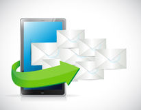 Tablet and emails illustration design Royalty Free Stock Photography