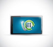 Tablet 911 emergency call illustration design Stock Image