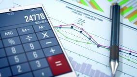 Tablet en ballpoint op documenten met een grafiek van financiële verhoudingen royalty-vrije illustratie