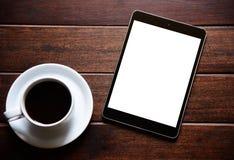 Tablet en Ochtendkoffie royalty-vrije stock foto