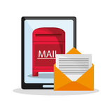 Tablet and envelope of mail concept Royalty Free Stock Images