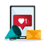 Tablet and envelope of mail concept Royalty Free Stock Photo