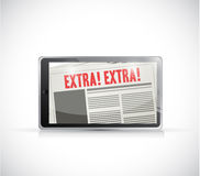 Tablet extra news online illustration Stock Images