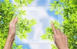 tablet för naturPCskärm som ska tryckas på Arkivbild