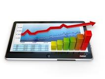 tablet för skärm för PC för affärsgraf Royaltyfri Foto