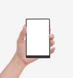 tablet för telefon för PC för håll för kortkvinnlighand mobil till Fotografering för Bildbyråer