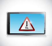 Tablet and fail sign illustration design Royalty Free Stock Photography
