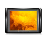 Tablet with a fantastic background on the screen. Vector Stock Photos