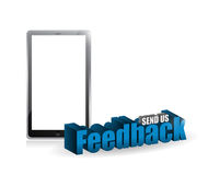 Tablet feedback 3d blue sign illustration Royalty Free Stock Image