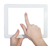 Tablet in female hands on an isolated Stock Photography