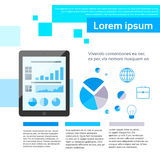 Tablet Finance Chart Infographics Web Page Layout. Template Design Flat Vector Illustration Royalty Free Stock Images