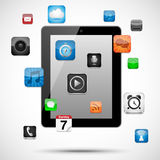 Tablet with Floating Apps. Vector tablet with app icons floating around it.  Eps10 file with transparency Royalty Free Stock Photo