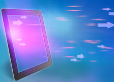 Tablet and flying arrow with its screen. Stock Images