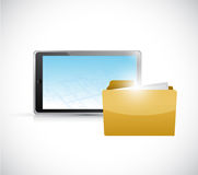 Tablet and folder illustration design Stock Images