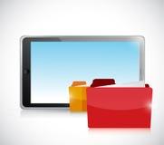 Tablet and folders illustration design Stock Images