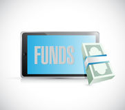 Tablet funds money online concept Stock Photos
