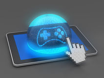 Tablet gaming. Gaming icon on a digital tablet with hand cursor, 3d render Royalty Free Stock Photo