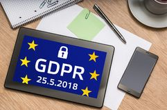 Tablet with GDPR screen. General Data Protection Regulation royalty free stock images