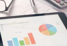 Tablet-Gerät mit Statistiken lizenzfreie stockfotos