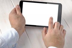 Tablet-Geschäftsmann Working Tablet Hand Stockbild
