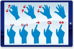 Tablet gestures. Vector illustration of hand gestures on touch screen Stock Image