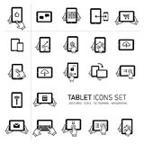 Tablet and gestures icon set Stock Photography
