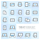Tablet and gestures icon set Royalty Free Stock Images