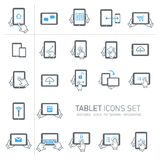 Tablet and gestures icons set Royalty Free Stock Photos