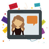 Tablet girl chat message bubble speech bakcground Royalty Free Stock Photography