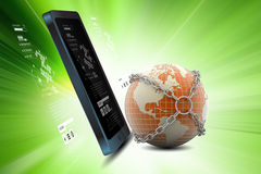 Tablet with global networking Royalty Free Stock Images