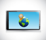 Tablet, globe and pointer illustration design Stock Photography