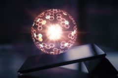 Tablet with glowing sphere stock illustration
