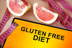 Tablet with gluten free diet. Royalty Free Stock Images