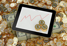 Tablet - Golden Dollar Coins - Profit Graph Royalty Free Stock Image