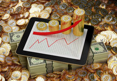 Tablet - Golden Dollar Coins - Profit Graph Royalty Free Stock Photo