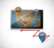Tablet gps and locations illustration Stock Images
