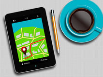 Tablet with gps navigation application, coffee and pencil lying. On white table Stock Photos
