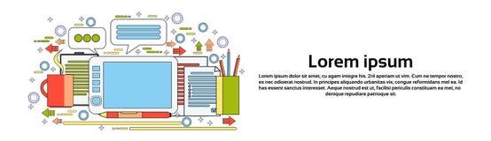Tablet Grafikdesigner-Tool On Workplaces Digital mit dem Zeichnen von Pen Creative Process Horizontal Banner mit Kopien-Raum Lizenzfreies Stockfoto