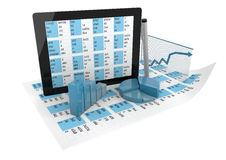 Tablet and graphics over spreadsheet Royalty Free Stock Photography