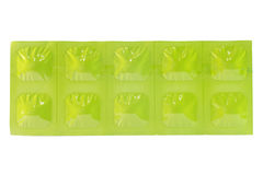 Tablet in Green aluminum foil strip Royalty Free Stock Photos