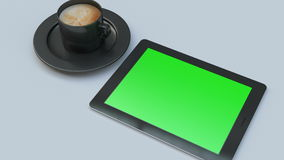 Tablet with a green screen stock footage