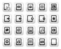 Tablet grey square buttons set - Royalty Free Stock Image