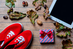 Tablet, gumshoes, gift and fallen leaves Royalty Free Stock Photos
