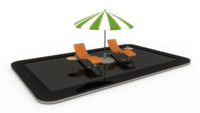 Tablet with hammocks and umbrella. 3d render. Tablet with hammocks and umbrella Royalty Free Stock Photos