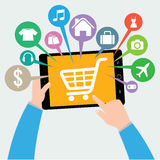 Tablet and hand with basket online shop, ecommerce concept Royalty Free Stock Photography