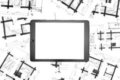 Tablet on hand drawing sketches Stock Photos